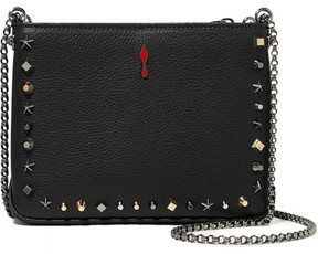 Christian Louboutin Triloubi Small Studded Textured-leather Shoulder Bag - Black