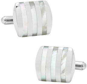Ox & Bull Trading Co. Men's Stainless Steel Striped Mother of Pearl Cufflinks