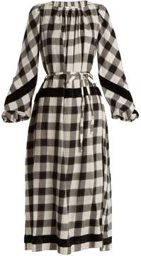 Tibi Tie-waist checked cotton-blend dress