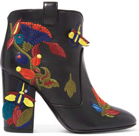 Laurence Dacade Pete Embroidered Leather Ankle Boots - Black