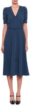 Bottega Veneta V-Neck Short-Sleeve Pintucked Embroidered Dress with Rope Belt