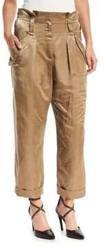 Brunello Cucinelli Linen-Satin Straight-Leg Cargo Pants