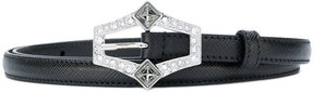 Prada thin embellished buckle belt