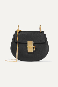 Chloé Drew Mini Textured-leather Shoulder Bag - Black