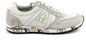 Premiata Sky Sneaker In White Nylon With Grey Suede Details