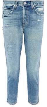 Amo Distressed High-Rise Slim-Leg Jeans