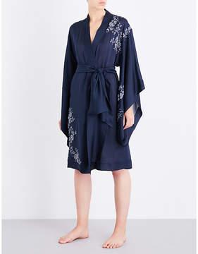 Carine Gilson Chantilly lace-trim silk-crepe kimono robe