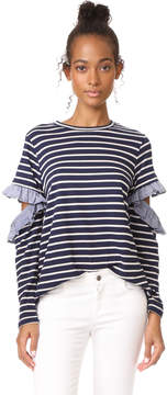 Clu Too Open Sleeve Striped Top with Ruffles