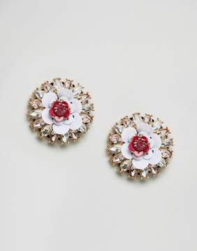 Aldo Nydeiniel Floral Stud Statement Embellished Earrings