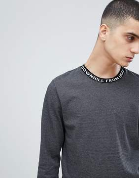 HUF Striped Long Sleeve T-Shirt With Jacquard Neckline In Black