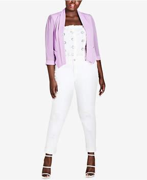 City Chic Trendy Plus Size Pleated Blazer
