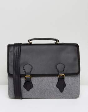 Asos Satchel In Black Faux Leather With Gray Melton