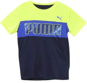 Puma Big Boy's Crew Neck Color Block Logo Royal Blue Short Sleeve T-Shirt Sz: M