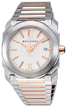 Bvlgari Octo Solotempo Silvered Dial Stainless Steel and 18kt Pink Gold Men's Watch