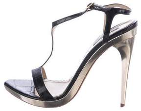 Roberto Cavalli Embossed Leather T-Strap Sandals