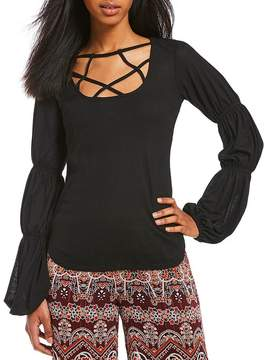 Chelsea & Violet Cage Neck Gathered Sleeve Knit Top