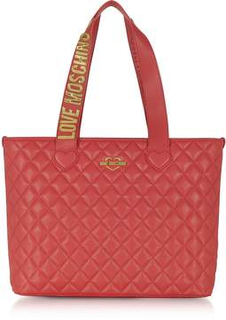 Love Moschino Fashion Red Quilted Eco-Leather Tote Bag