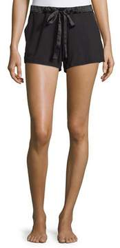 Fleurt Fleur't Belle Epoque Satin-Trim Lounge Shorts, Black