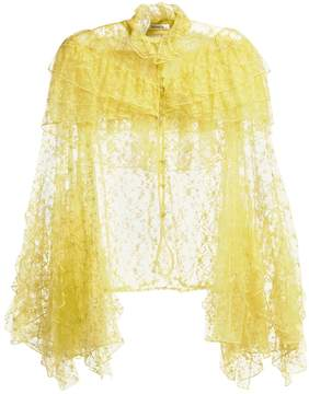 Rodarte Ruffle-trimmed high-neck floral-lace blouse