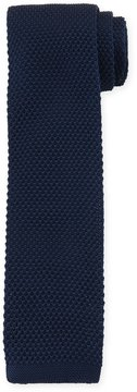Neiman Marcus Knit Solid Soft Tie, Navy