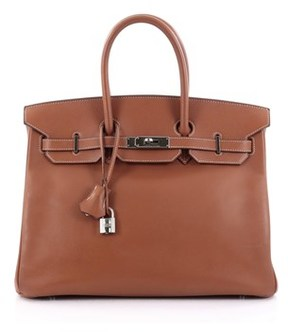 Hermes Pre-owned: Birkin Handbag Gold Brown Epsom With Palladium Hardware 35. - BROWN - STYLE