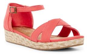 Toms Harper Cotton Twill Wedge Sandal (Little Kid & Big Kid)