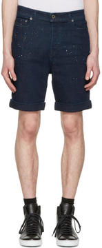 Diesel Black Gold Navy Denim Paint Splatter Shorts