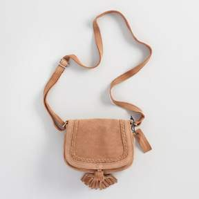 World Market Tan Suede Cross Body Saddle Bag