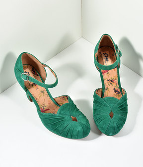 Unique Vintage Miss L Fire 1940s Style Emerald Green Suede Keyhole Amber Heels Shoes