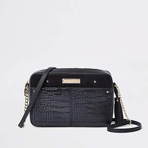 River Island Black croc embossed boxy cross body bag