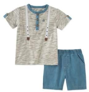 Calvin Klein Jeans Baby Boy's Two-Piece Henley and Denim Shorts Set