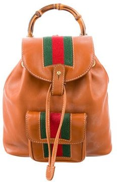 Gucci Vintage Mini Web Bamboo Backpack - BROWN - STYLE