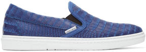 Jimmy Choo Blue Croc-Embossed Grove Slip-On Sneakers
