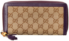 Gucci Brown Gg Supreme Canvas & Purple Leather Trim Flap Wallet - ONE COLOR - STYLE