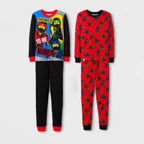 Lego The Ninjago Boys' 4 Piece Cotton Pajama Set - Black