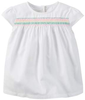 Carter's Toddler Clothing Outfit Little Girls Smocked Poplin Top White