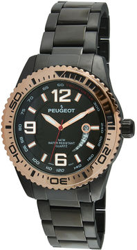 Peugeot Mens Black Bracelet Watch-1030bk