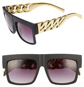BP Women's 52Mm Chain Detail Shield Sunglasses - Black/ Gold