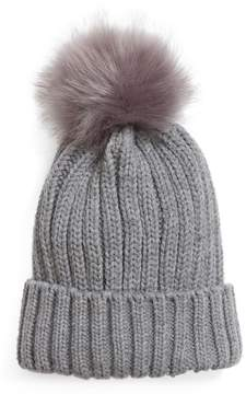 BP Women's Faux Fur Pompom Beanie - Grey