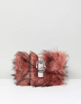 New Look Fur Buckle Clutch