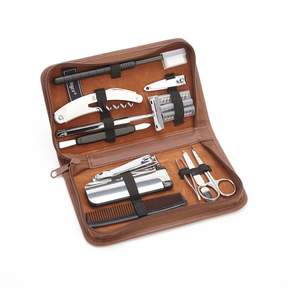 Royce Leather Royce Luxury Travel and Grooming Genuine Leather Toiletry Kit - Tan