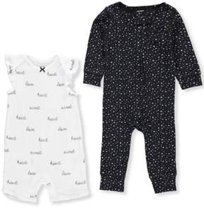 Carter's Baby Girls' 2-Pack Romper and Coveralls - white, 3 months