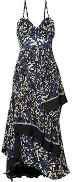 3.1 Phillip Lim Pleated Printed Silk Crepe De Chine Midi Dress - Black