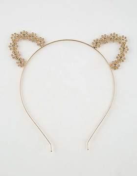 FULL TILT Flower Rhinestone Cat Ear Headband