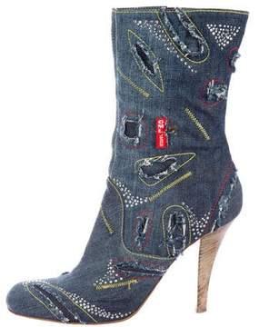 Gianmarco Lorenzi Denim Embellished Boots