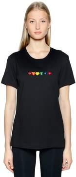 Diesel Hearts Logo Flocked Cotton T-Shirt