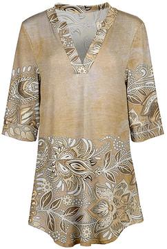 Azalea Beige & Brown Floral V-Neck Tunic - Women & Plus