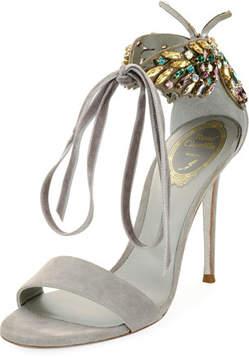 Rene Caovilla Butterfly Suede Strass Tie Sandal, Gray