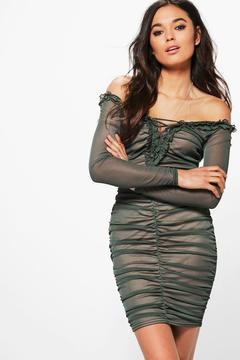 boohoo Mia Mesh Off Shoulder Lace Up Bodycon Dress