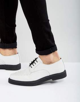 Asos Lace Up Shoes In White Leather With Creeper Sole